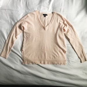 Light Blush Pink Slouchy J. Crew V-Neck Sweater